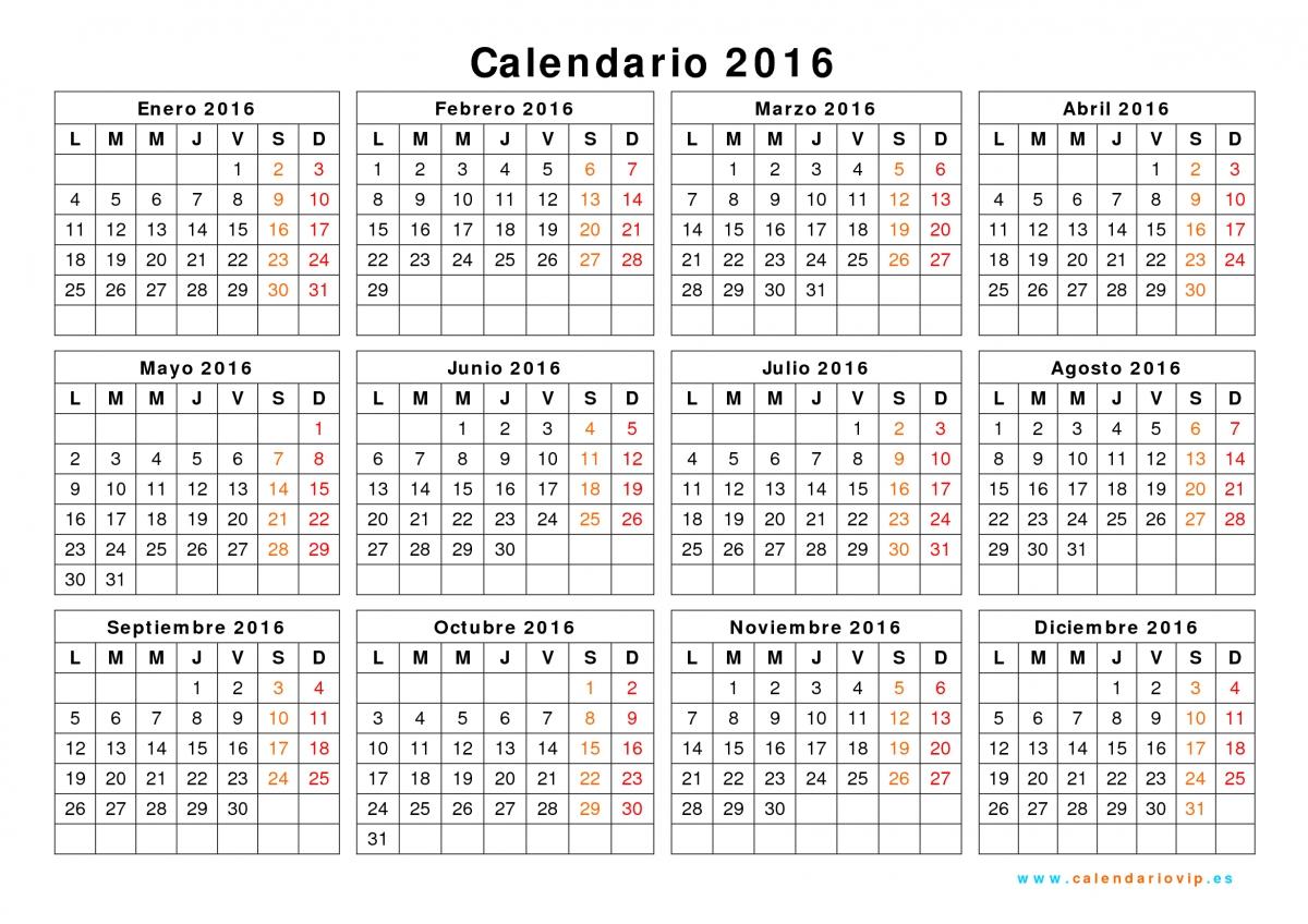 fijado el calendario laboral del 2016